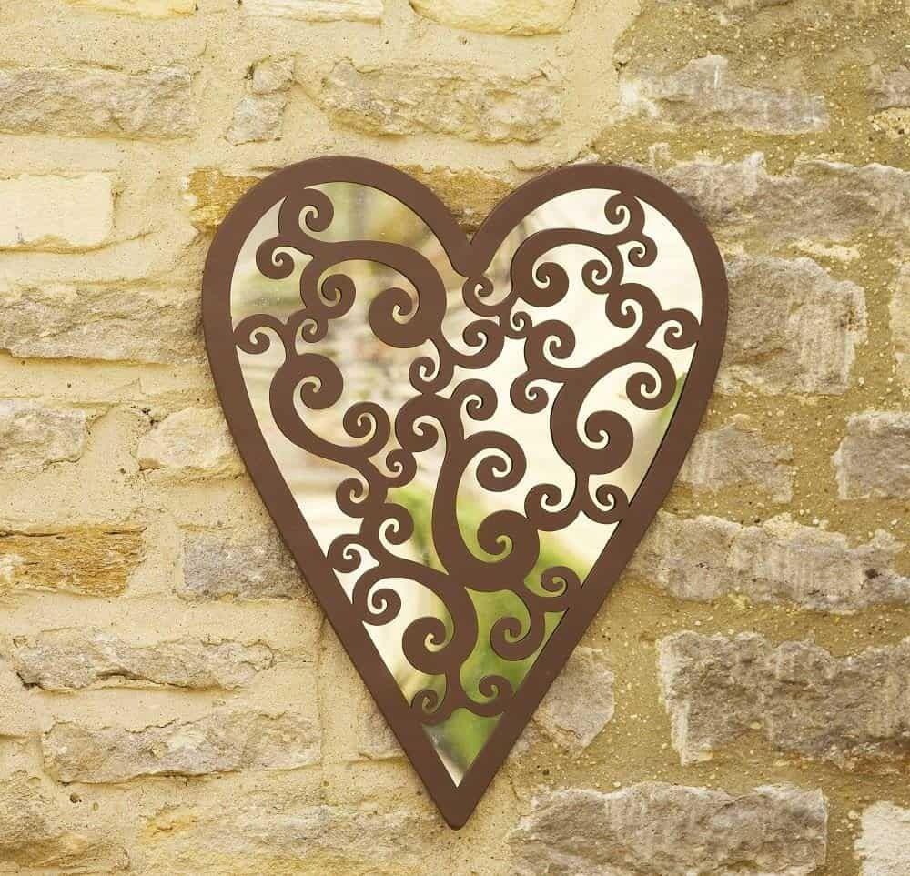 espejo de acrílico del jardín del corazón