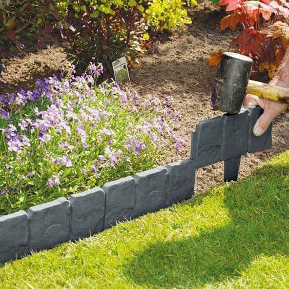 cobbled stone plastic garden edging ideas