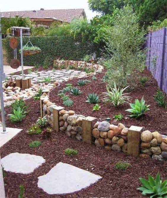 rocks and wood garden edging ideas