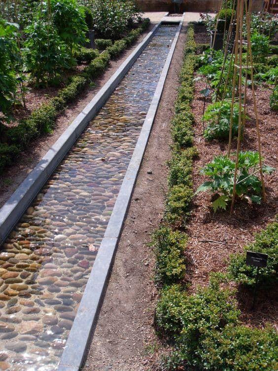 water garden edging idea