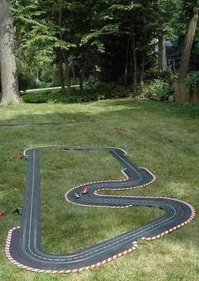 garden racetrack in grass