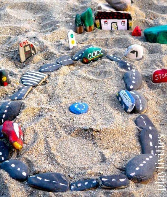 stone garden racetrack in sand