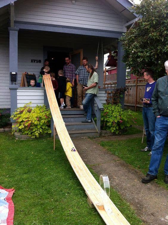 wooden garden racetrack
