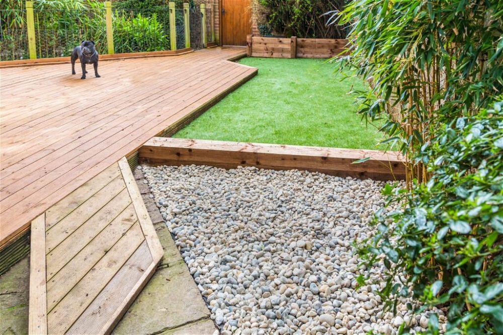 6. Garden Decking With Grass