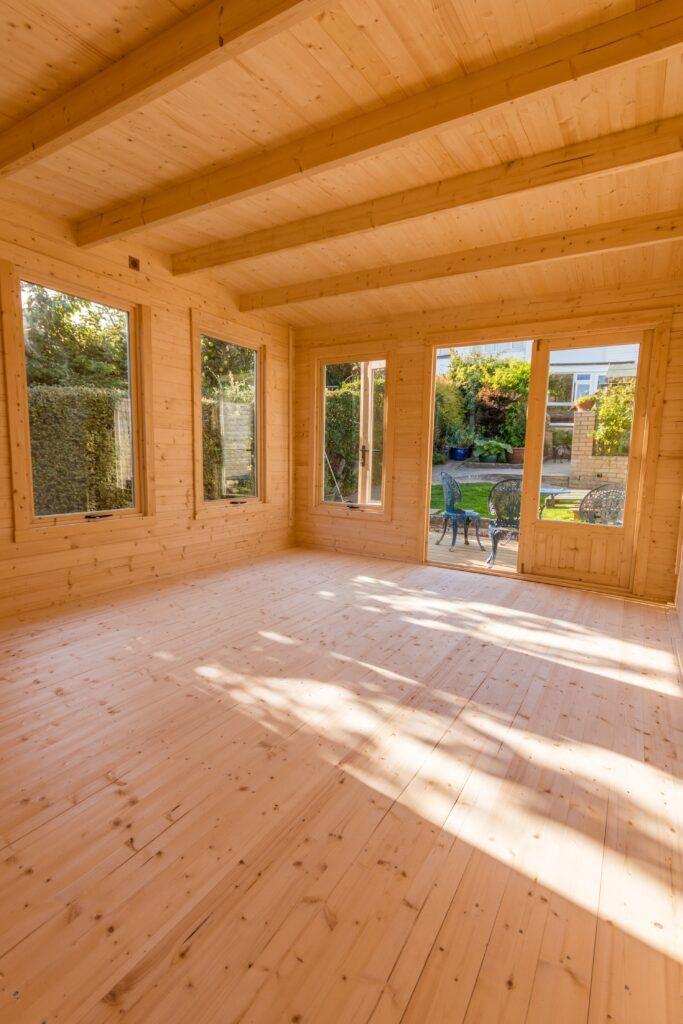 interior-de-madera-jardín-oficina-habitación