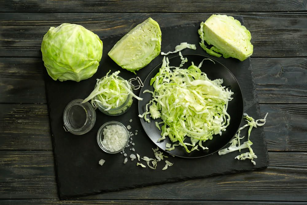 Sliced cabbage on plate
