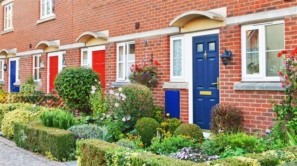 English town houses with front garden