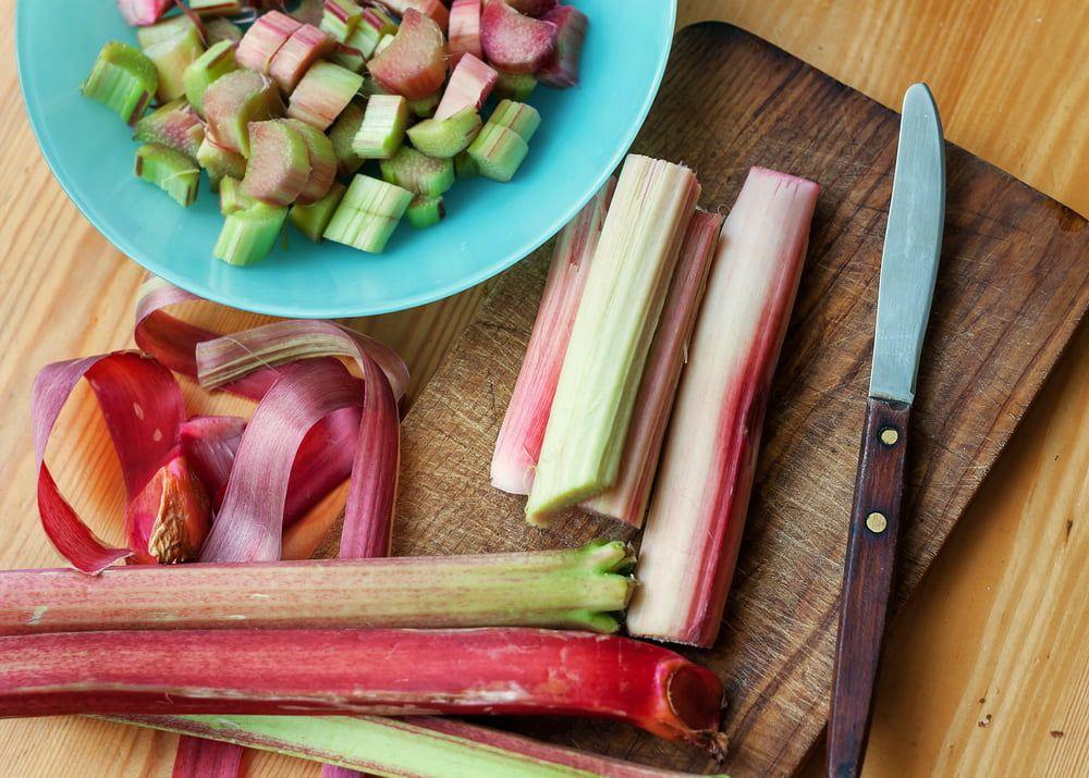 Chopped and sliced rhubarb