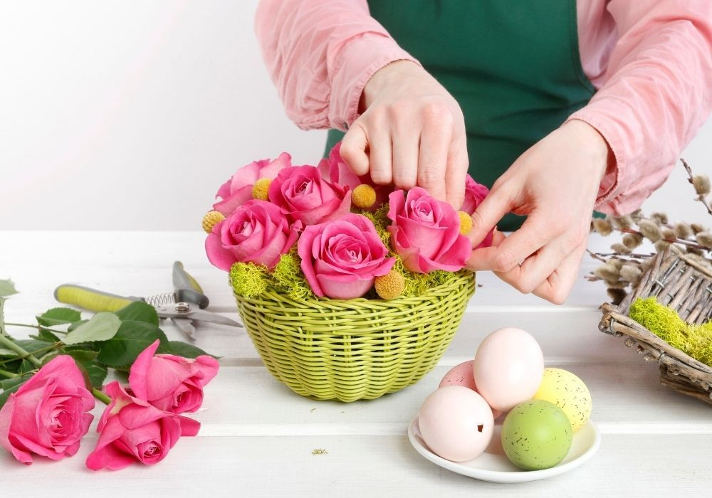 how-to-make-easter-flower-basket-with-roses